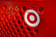 Target logo. November 14, 2017 Mountain View/CA/USA - Target logo on a shopping cart stock photo
