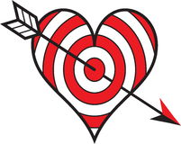 Target love. Heart shaped target with arrow Royalty Free Stock Images