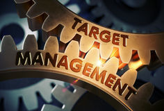 Target Management on Golden Gears. 3D Illustration. Royalty Free Stock Photo