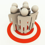 Target manpower. A group of people on target for manpower planning, HRD, sales or marketing stock illustration