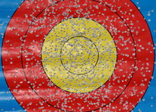 Target with many bullet holes Royalty Free Stock Photo