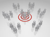 Target Market. Bulls eye on a group of 3D rendered group of characters Royalty Free Stock Photo