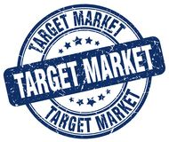Target market blue stamp. Target market blue grunge round stamp isolated on white background Royalty Free Stock Photos