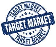 Target market blue stamp. Target market blue grunge round stamp isolated on white background stock illustration