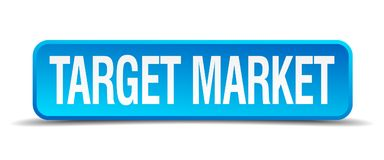 Target market button. Target market square 3d realistic isolated web button. target market Stock Images