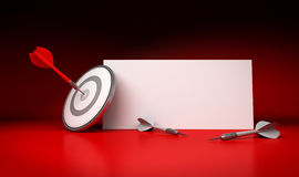 Target Market and Communication Sign, Red Background. One dart hitting the center of a target with a white blank sign at the background for communication purpose Stock Photos