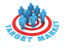 Target Market Concept. 3d render Target Market and target area Concept (close-up Royalty Free Stock Photos