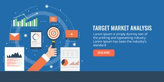 Target market and data analysis for business growth. Flat design marketing banner. Concept of target marketing analysis for company including charts, graphs vector illustration