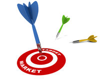 Target market. Getting a perfect hit at the target market, blue dart hitting target market circle, white background Royalty Free Stock Image