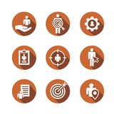 Target market icons of buyer image and persona  - gear, arrow, n. Target market icons of buyer image and persona  w gear, arrow, nurturing leads Stock Image