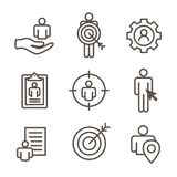 Target market icons of buyer image and persona  - gear, arrow, n. Target market icons of buyer image and persona  w gear, arrow, nurturing leads Royalty Free Stock Photos