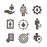 Target market icons of buyer image and persona  - gear, arrow, n. Target market icons of buyer image and persona  w gear, arrow, nurturing leads Royalty Free Stock Images