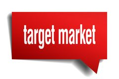 Target market red 3d speech bubble. Target market red 3d square isolated speech bubble Royalty Free Stock Photos