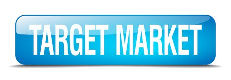 Target market button. Target market square 3d realistic isolated glass web button. target market stock illustration