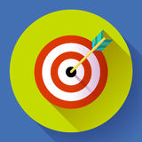 Target marketing icon. with arrow symbol. Flat vector design style. Stock Photo