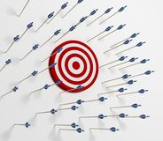 Target miss. Tens of arrows that have missing  the target Royalty Free Stock Photos