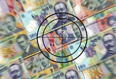 Target on the money. Business concept with a target on romanian money lei Stock Image