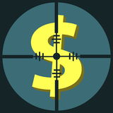 Target money. Scope for target Money with blue background Stock Image