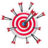 Target with multiple arrows aiming on the center Royalty Free Stock Photo