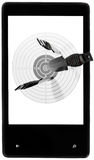 Target new smartphone. Target throwing knives screen smartphone black white background isolated Stock Photos