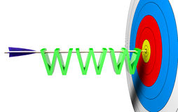 Target News. Arrow on a center with WWW 3d text Royalty Free Stock Photography