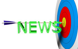 Target News. Arrow on a center with news 3d text Stock Image