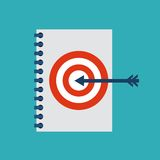 Target and notebook design. Solution concept. Vector graphic Stock Photos