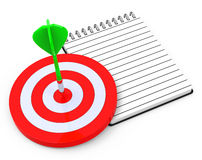 Target and notepad Royalty Free Stock Images