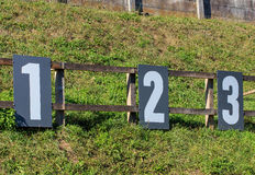 Target numbers on a shooting range. In Switzerland. Shooting ranges in Switzerland are common due to the liberal gun laws and strong shooting traditions Stock Image