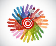 Target over diversity hands circle illustration Royalty Free Stock Photo