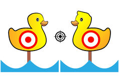 Target painted yellow ducks for shooting range and Entertainment.  Stock Photo