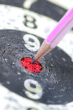 Pencil Target for business concept. The Pencil Arrow to a red target on the Dart royalty free stock photography