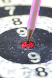 Pencil Target for business concept. The Pencil Arrow to a red target on the Dart royalty free stock photo
