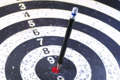 Pencil Target on the Dart. The Pencil Arrow to a red target on the Dart royalty free stock image