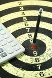 Pencil Target on the Dart. The Pencil Arrow to a red target on the Dart royalty free stock photography