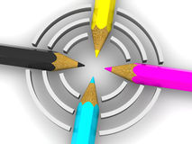 Target from pencils. CMYK. 3d Very beautiful three-dimensional illustration, figure Royalty Free Stock Photography