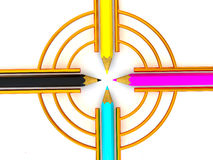 Target from pencils. CMYK. 3d Very beautiful three-dimensional illustration, figure Stock Photography