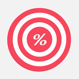 Target with percent sign. Stock Photos