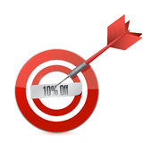 Target 10 percentage discount illustration design. Concept. over white Royalty Free Stock Photos