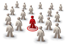 Target person. One person targeted among the crowd Royalty Free Stock Photo