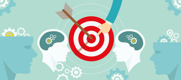 Target positioning strategy in consumer customer mind marketing. Vector Stock Images