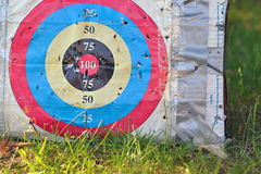 Target Practice. Home made archery target practice in back yard on grass Royalty Free Stock Photography