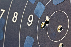 Target Practice Qualifications. Closeup photograph of a perfect target practice run, scoring a total of 50 points Royalty Free Stock Photos