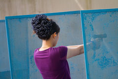 Target practicing with gun In the shooting range Royalty Free Stock Photo