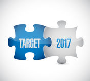 Target 2017 puzzle pieces illustration. Design graphic background Stock Photography