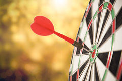 Target red arrow center of dartboard blurred bokeh background. Concept business goal to marketing success Stock Photo