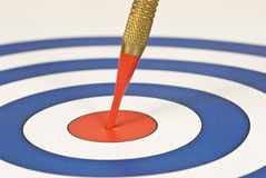 On Target. A red dart hits the bulls eye on a red, white, and blue target stock photos
