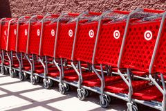 Kokomo - Circa May 2018: Target Retail Store Baskets. Target`s online sales are booming but proving costly to profits II. Target Retail Store Baskets. Target`s stock image