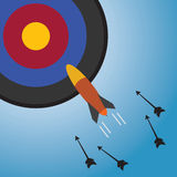 Target and Rocket Surpassed arrow Royalty Free Stock Photography