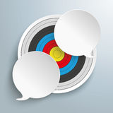 Target 2 Round Speech Bubbles. Infographic with target, squares and tirangles on the gray background Stock Photos